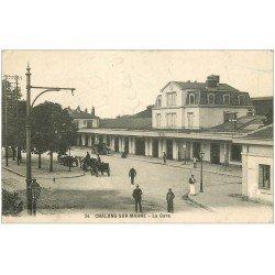 carte postale ancienne 51 CHALONS-SUR-MARNE. La Gare 1914