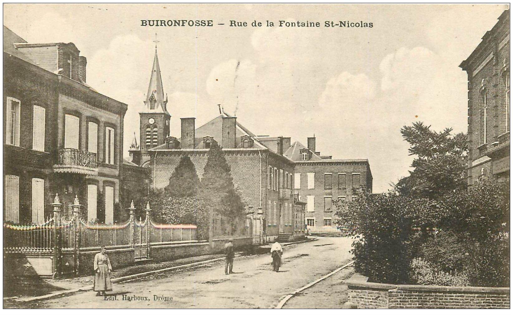 carte postale ancienne 02 BUIRONFOSSE. Rue de la Fontaine Saint-Nicolas