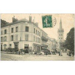 carte postale ancienne 51 EPERNAY. Eglise Place Thiers. Attelage livraisons Buvette Café 1909