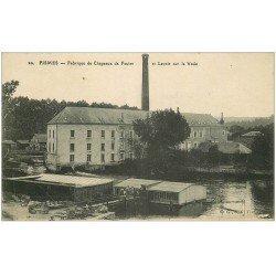 carte postale ancienne 51 FISMES. Fabrique Chapeaux de Feutre et Lavoir sur la Vesle 1917