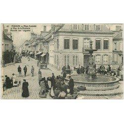 carte postale ancienne 51 FISMES. Marché Légumes Place Lamotte et Rue de la Huchette 1917