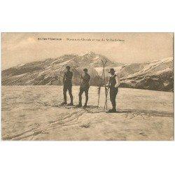 carte postale ancienne 09 AX-LES-THERMES. Skieurs au Chiola et Saint-Barthélémy