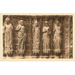 carte postale ancienne 51 REIMS Cahédrale. Ebrasement Porche