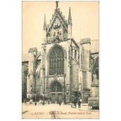 carte postale ancienne 51 REIMS. Basilique Saint-Remi Portail et vespasienne