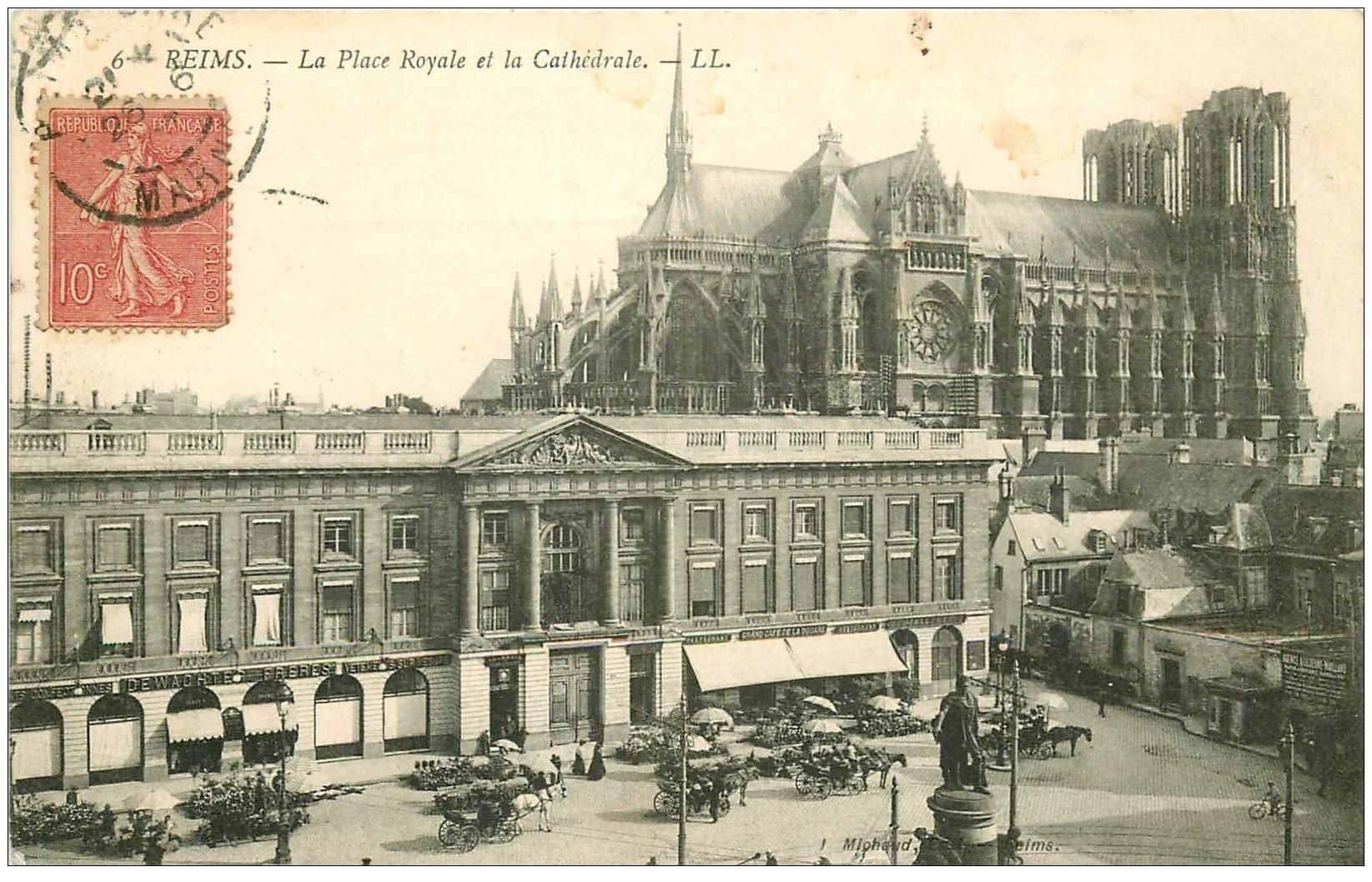 51 reims place royale et cath drale 1907 caf de la douane - Carte de visite reims ...