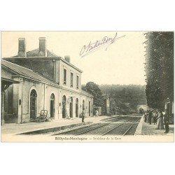 carte postale ancienne 51 RILLY-LA-MONTAGNE. La Gare 1904 arrivée d'un Train
