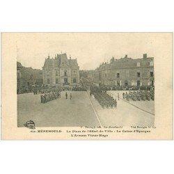 carte postale ancienne 51 SAINTE-MENEHOULD. Caisse Epargne Place Hôtel de Ville Avenue Victor-Hugo. Fanfare Militaire 1917