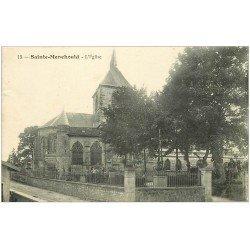 carte postale ancienne 51 SAINTE-MENEHOULD. Eglise et Cimetière 1918 animation