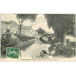 carte postale ancienne 51 SAINTE-MENEHOULD. Pont de Pierre Lavandières sur l'Aisne 1916 Imprimerie Revue de la Marne