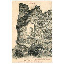carte postale ancienne 09 LORDAT. Gamins à la Porte et Ruines du Château
