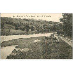 carte postale ancienne 42 FEURS. Bergère et Vaches bords de Loire