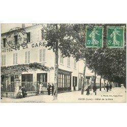 carte postale ancienne 42 FEURS. Hôtel de la Gare 1909