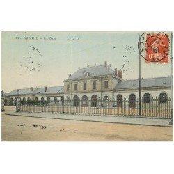 carte postale ancienne 42 ROANNE. La Gare 1907 en couleur