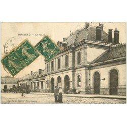 carte postale ancienne 42 ROANNE. La Gare 1917