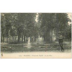 carte postale ancienne 42 ROANNE. Promenade Populle le Jet d'Eau