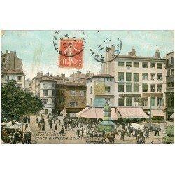 carte postale ancienne 42 SAINT-ETIENNE. La Tour Place du Peuple 1911 Vespasiennes (état moyen)