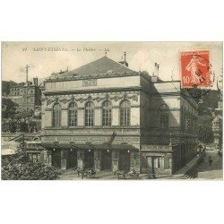 carte postale ancienne 42 SAINT-ETIENNE. Le Théâtre 1915 et Café du Théâtre