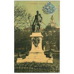carte postale ancienne 42 SAINT-ETIENNE. Statue Francis Garnier 1907. Superbe carte toilée