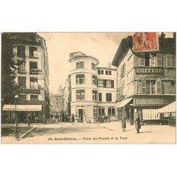 carte postale ancienne 42 SAINT-ETIENNE. Tour Place du Peuple 1911 Café Mallecourt