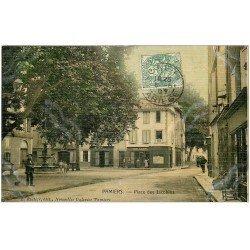 carte postale ancienne 09 PAMIERS. Place des Jacobins 1905. Carte toilée. Edition Rastier Nouvelles Galeries Pamiers