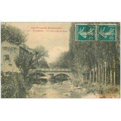 carte postale ancienne 09 SAINT-GIRONS. Pont sur le Baup 1912. Gamin pêchant à droite...