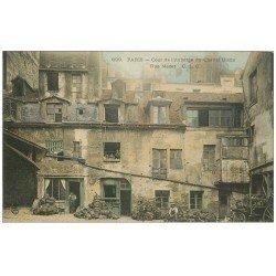 carte postale ancienne 75 PARIS 06. Cour Auberge du Cheval Blanc rue Mazet