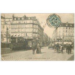 carte postale ancienne 75 PARIS 10. Café La Bonne Bière Hôtel Beauséjour Faubourg du Temple 1904. Brasserie La Capitale à gauche