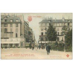 carte postale ancienne 75 PARIS 10. Faubourg du Temple et Quai de Valmy. Charrette Badoit. Edition Fleury