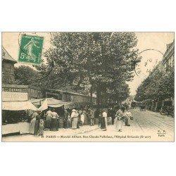 carte postale ancienne 75 PARIS 10. Le Marché Alibert, Rue Claude Vellefaux et Hôpital Saint-Louis 1914