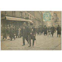 carte postale ancienne 75 PARIS 10. Lépine se rend à la Bourse du Travail Place du Château-d'Eau 1906. Bar au Tambour de Magenta