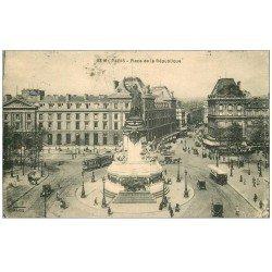 carte postale ancienne 75 PARIS 10. Place de la République 1928 et le Faubourg du Temple