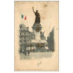 carte postale ancienne 75 PARIS 10. Place de la République avec Drapeau colorisé 1903