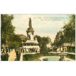 carte postale ancienne 75 PARIS 10. Place de la République et Jardin AP 136