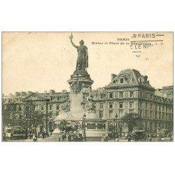 carte postale ancienne 75 PARIS 10. Place de la République et Statue L.D