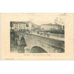 carte postale ancienne 09 SAVERDUN. Quai et Attelage sur le Pont sur l'Ariège 1915