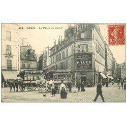 carte postale ancienne 75 PARIS 16. Hippomobiles Omnibus Place de Passy 1908. Magasins Luce
