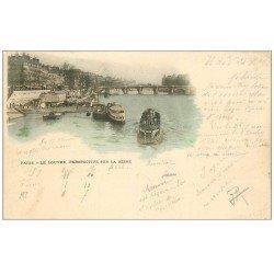 carte postale ancienne PARIS 01. Le Louvre et la Seine. Timbre 10 Centimes 1899
