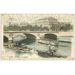 carte postale ancienne PARIS 04. Bateau Marie-Salope et Bateau Mouche 1899. Pour Rousseau à Neuchâtel