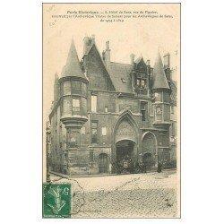 carte postale ancienne PARIS 04. Hôtel de Sens rue Figuier 1908