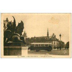 carte postale ancienne PARIS 05. Autobus Place Saint-Michel