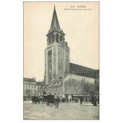 carte postale ancienne PARIS 06. Eglise Saint-Germain-des-Prés et Fiacres 105