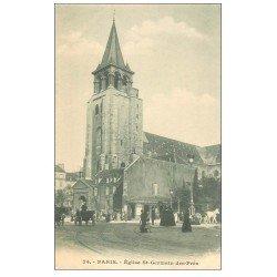 carte postale ancienne PARIS 06. Eglise Saint-Germain-des-Prés et Fiacres 74 vers 1900