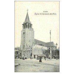 carte postale ancienne PARIS 06. Eglise Saint-Germain-des-Prés et Hippomobile à Impériale
