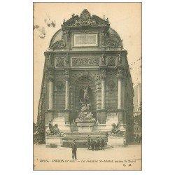 carte postale ancienne PARIS 06. Fontaine Saint-Michel 1916