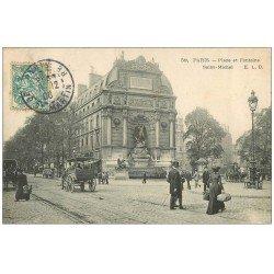 carte postale ancienne PARIS 06. Place et Fontaine Saint-Michel 1906