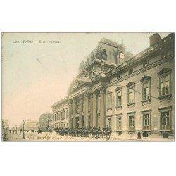 carte postale ancienne PARIS 07. Ecole Militaire. 2 Timbres Taxes 5 centimes 1904 et T du Facteur un peu appuyé...