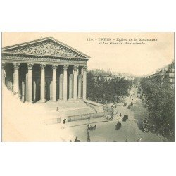 carte postale ancienne PARIS 08. Eglise Madeleine et Grands Boulevards