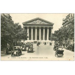 carte postale ancienne PARIS 08. Eglise Madeleine Rue Royale Taxis