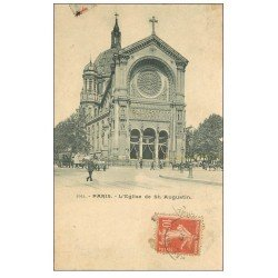 carte postale ancienne PARIS 08. Eglise Saint-Augustin. 1912