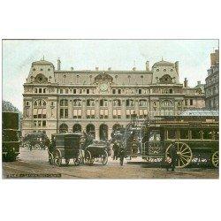 carte postale ancienne PARIS 09. Gare Saint-Lazare Hippomobiles